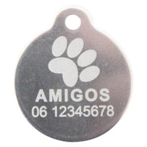 Goedkope hondenpenning budget rond met oog RVS bij Hondenpenning.net HETDIER.nl AnimalWebshp.com Amigos-animals.com