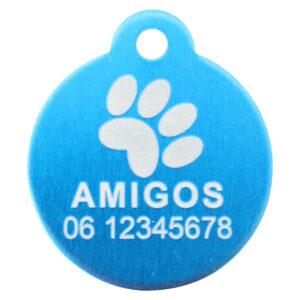 Goedkope hondenpenning budget rond met oog blauw bij Hondenpenning.net HETDIER.nl AnimalWebshp.com Amigos-animals.com