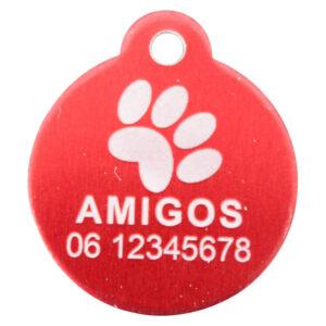 Goedkope hondenpenning budget rond met oog rood bij Hondenpenning.net HETDIER.nl AnimalWebshp.com Amigos-animals.com