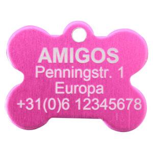 Goedkope hondenpenning budget bot roze bij Hondenpenning.net HETDIER.nl AnimalWebshp.com Amigos-animals.com
