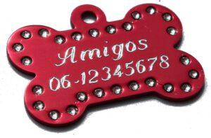 Hondenpenning bot swarovski rood gegraveerd bij Hondenpenning.net Amigos, HETDIER.nl en Animalwebshop 1