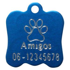 Gegraveerde hondenpenning hondenkop blauw Amigos animals Animalwebshop Hondenpenning.net HETDIER.nl