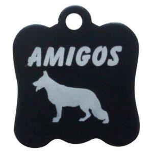 Goedkope hondenpenning budget hondenkop zwart Amigos animals Animalwebshop Hondenpenning.net HETDIER.nl