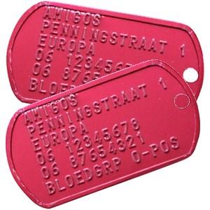 id plaatje identiteitsplaatjes dubbel ID Tag Dog Tag rood bij AnimalWebshop.com