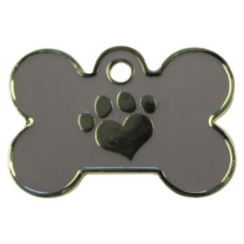 Hondenpenning bot met pootje groot grijs hondenpenning.net HETDIER.nl Amigos-animals AnimalWebshop